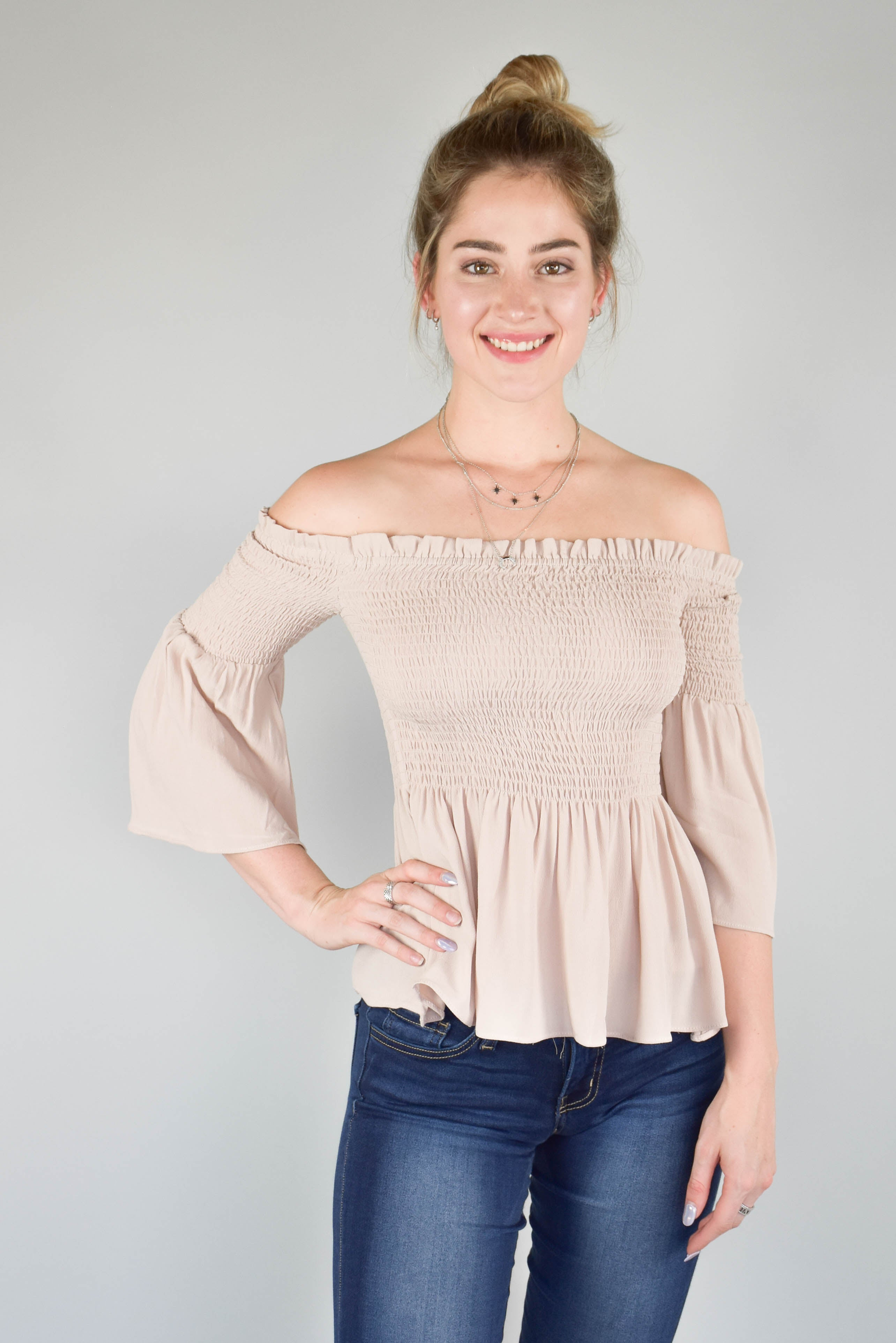 Olivaceous In Neutral Smocked Top
