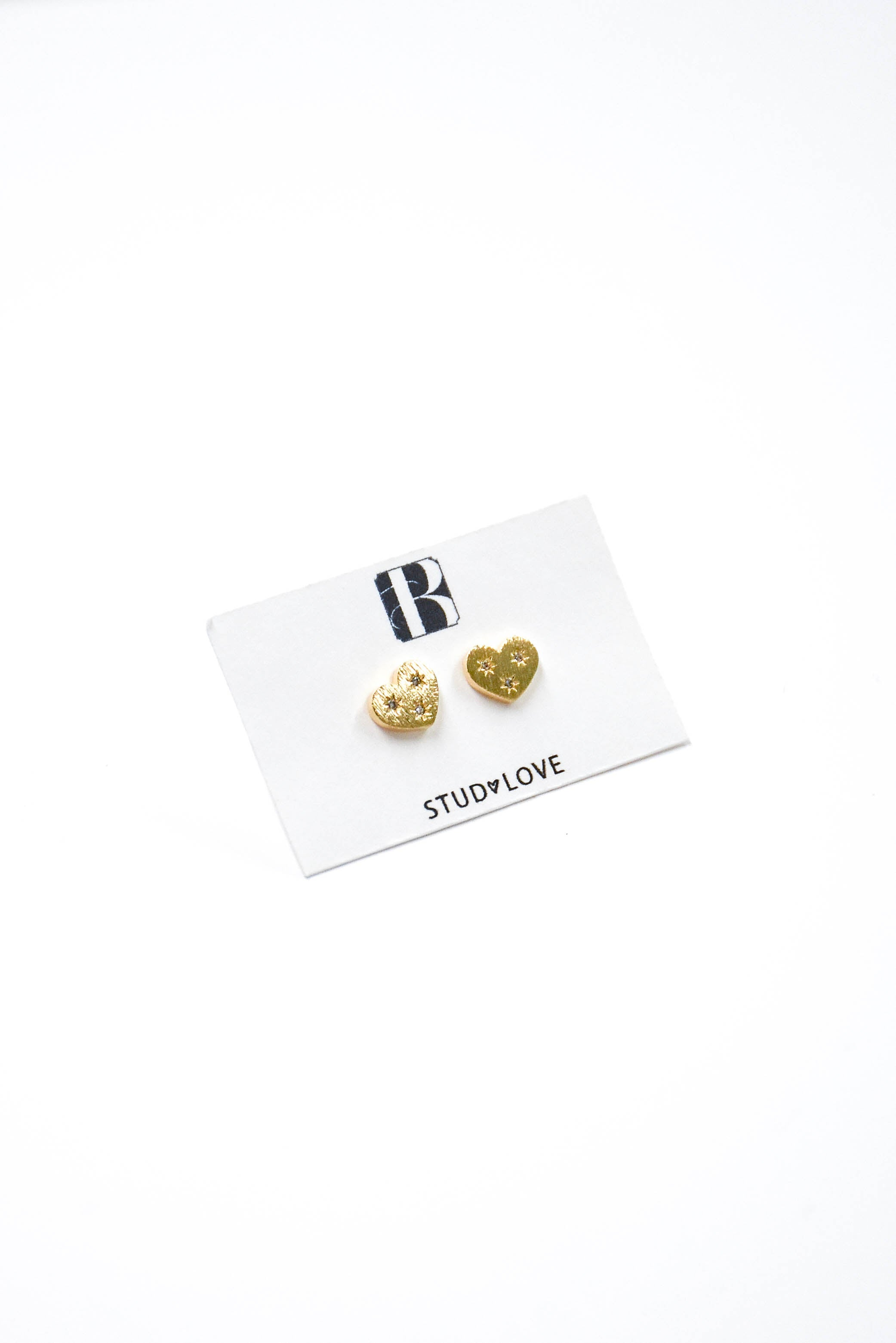 Mini CZ Heart Stud Earring (Gold)