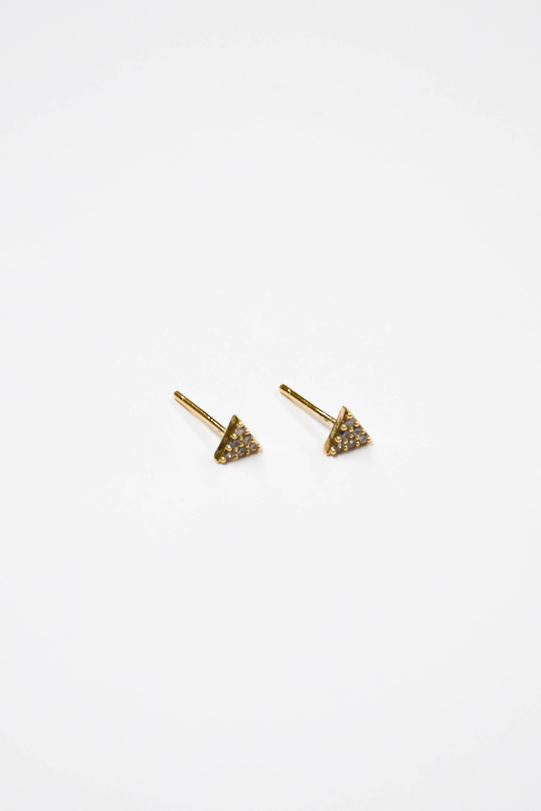 CZ Filled Triangle Studs (Gold)