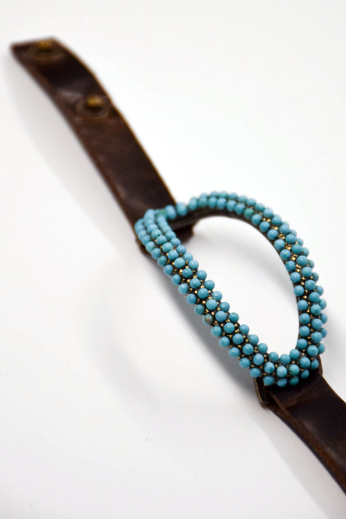 Rebel Open Oval Turquoise Bracelet