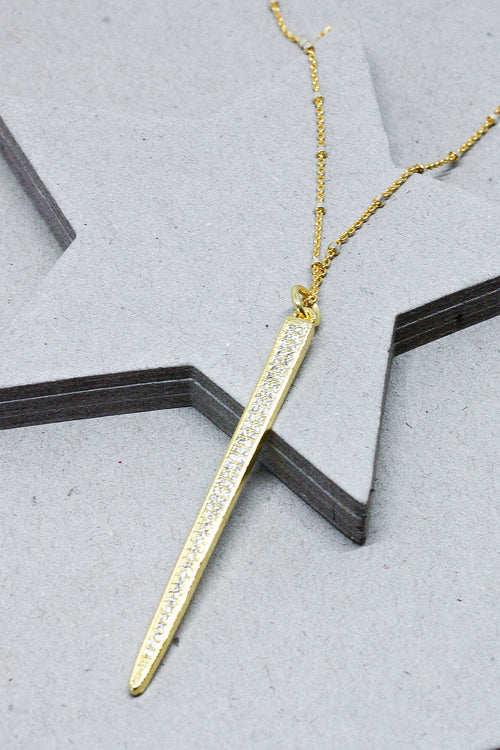 B. Alli Gold Notched Chain Spike Necklace (Gold)