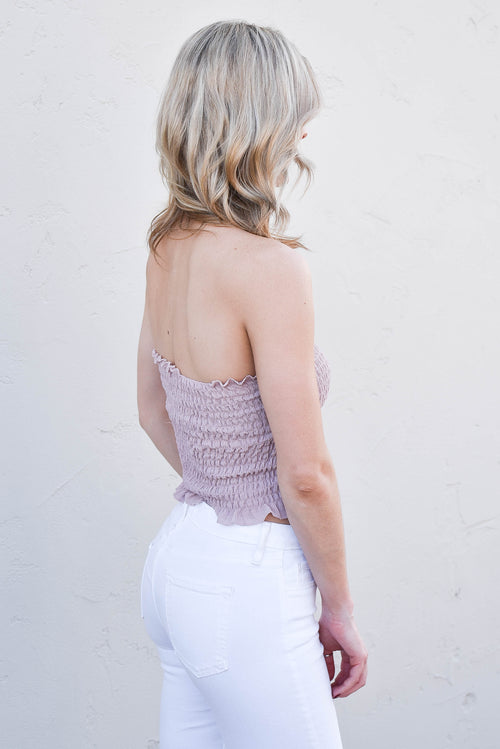 Smocked Ruffle Tube Top (Rose)