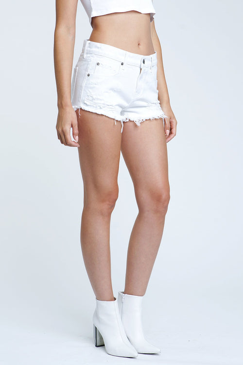 Pistola Gigi Distressed Low Waist Denim Shorts (White)