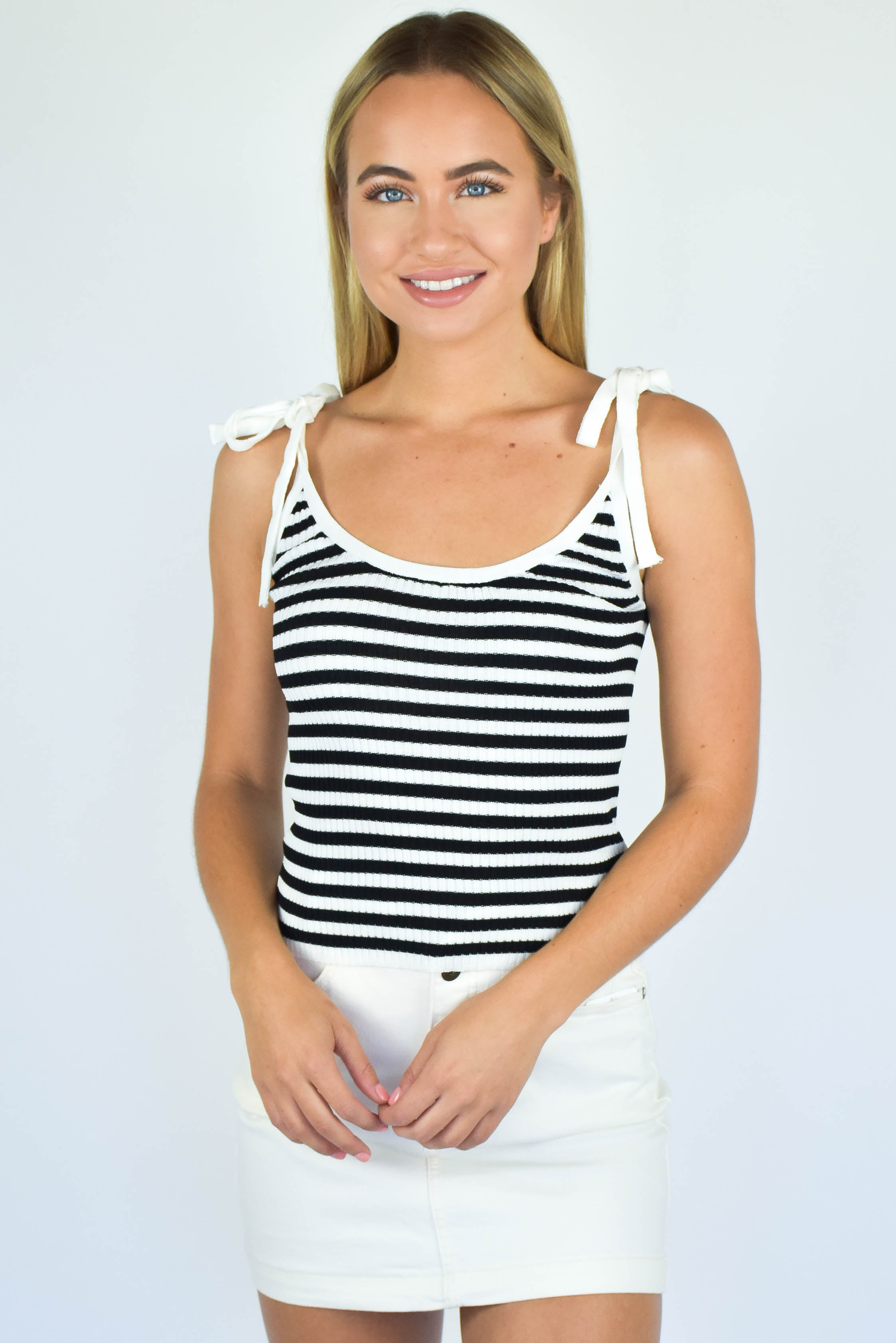 Striped Tie Ribbed Top