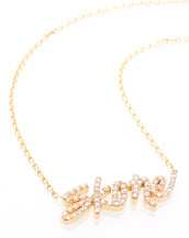 Skone Signature Gold & Diamond Nameplate Necklace