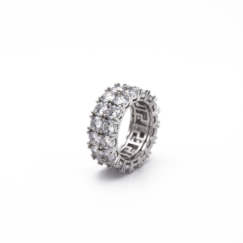 Double-Row Diamond Band Ring in White Gold