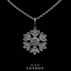 Iced Snowflake Pendant in White Gold