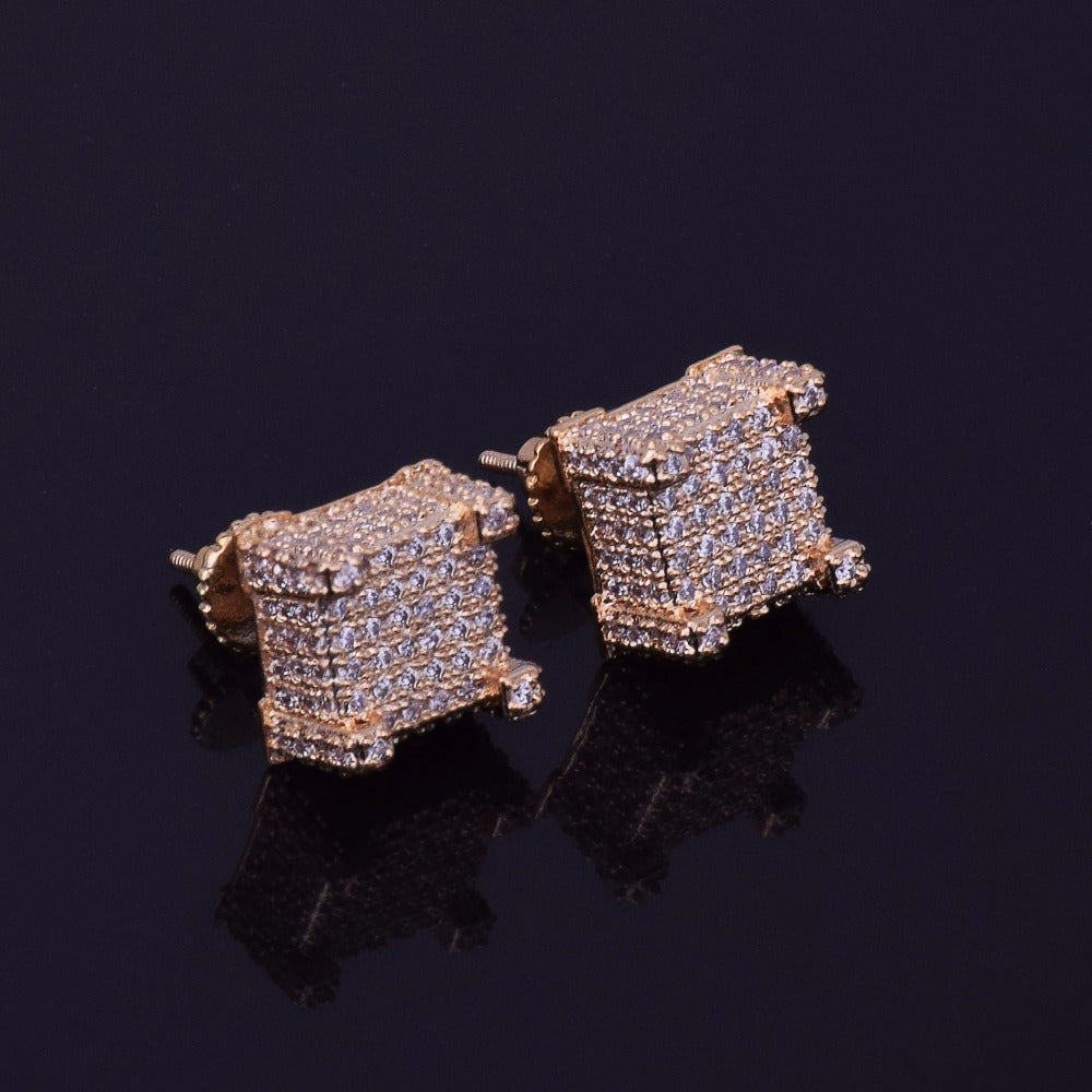 10x10mm Square-Cut Earrings 18k yellow white rose gold plated CZ cubic zirconia diamond iced out Cuban Link tennis chain bracelet pendant necklace