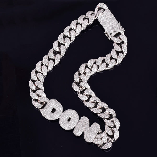Custom Cuban Link Name Pendant 18k yellow white rose gold plated CZ cubic zirconia diamond iced out Cuban Link tennis chain bracelet pendant necklace