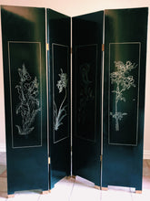 Vintage Black Lacquered Chinoiserie Screen