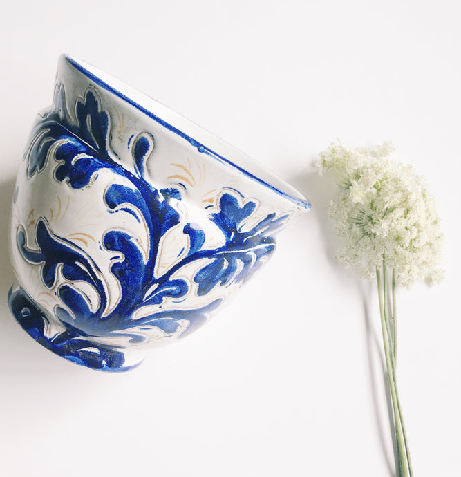 Blue & White Ceramic Italian Planter