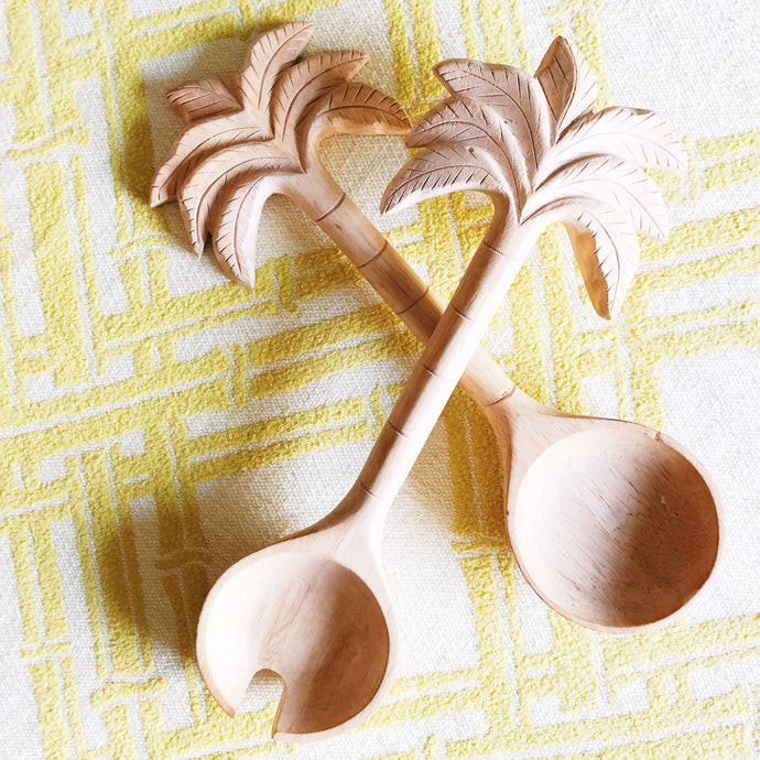 Wooden Palm Tree Serving Spoons