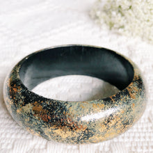 Black, Green and Gold Bangle Bracelet