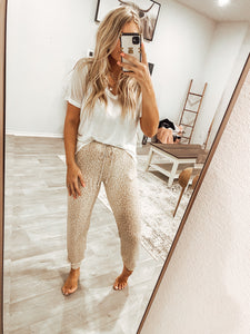 Jay Leopard French Terry Joggers - Taupe