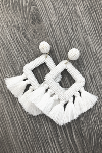 Ellie Fringe Earrings - White