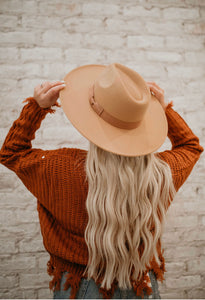 The Ruby Wide Brim Hat- Camel