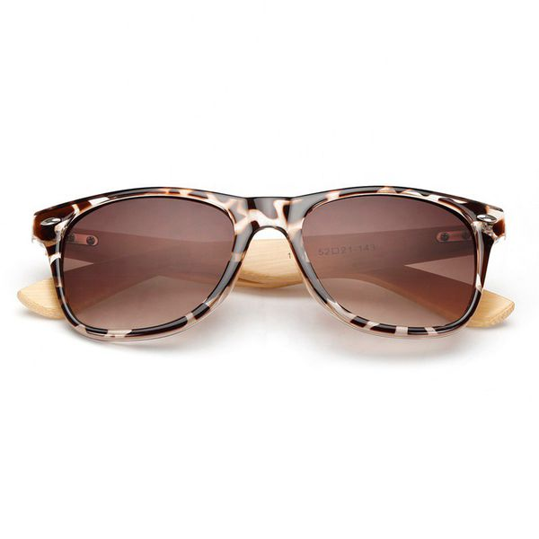 Leopard Frame Bamboo Wood Sunglasses - Paw Prints & Curly Tails