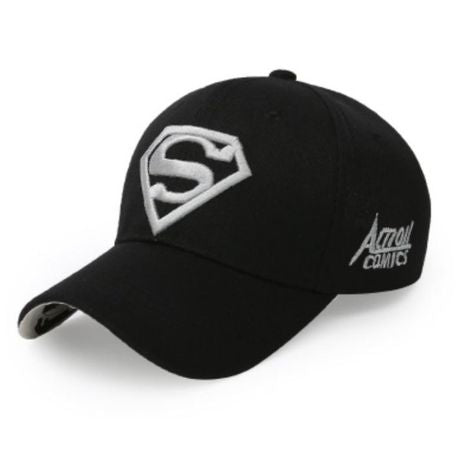 White on Black Embroidered Superman Cap - Paw Prints & Curly Tails
