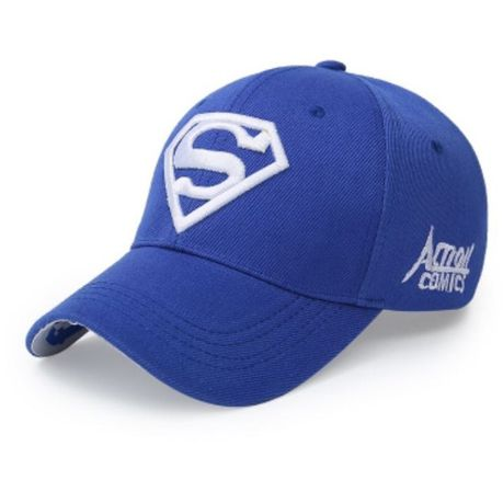 White on Blue Embroidered Superman Cap - Paw Prints & Curly Tails