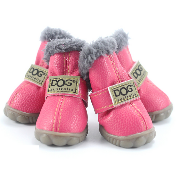 Waterproof & Fluffy Non-Slip Dog Shoes - Set of 4 (Various Colours) - Paw Prints & Curly Tails
