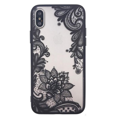 Floral Lace Henna Cover for iPhone X - Paw Prints & Curly Tails