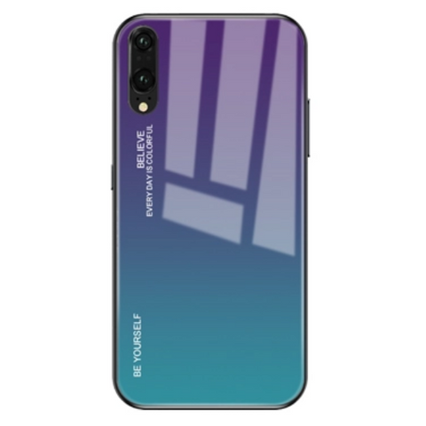 Gradient Phone Case with Tempered Glass Back for Huawei P30 Lite - Paw Prints & Curly Tails