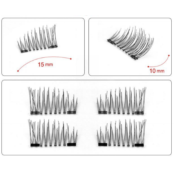 2 Magnet Reusable 3D Eyelashes with Applicator - Paw Prints & Curly Tails
