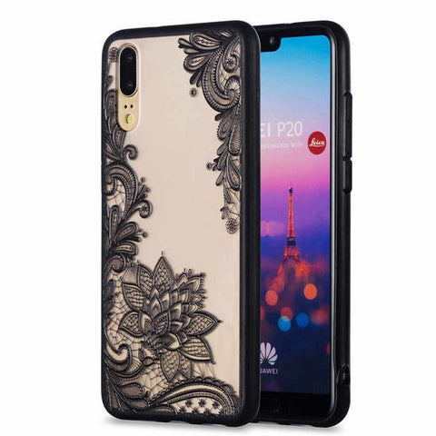 "Floral Lace Henna Cover for ""Huawei P20 LITE"" - Paw Prints & Curly Tails"