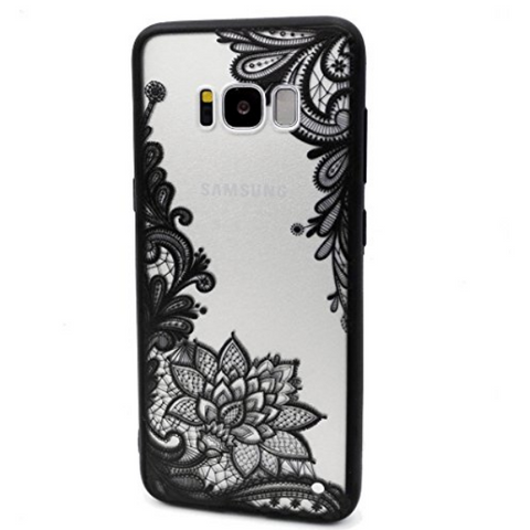 "Black Floral Lace Henna Cover for ""Samsung S10"" - Paw Prints & Curly Tails"