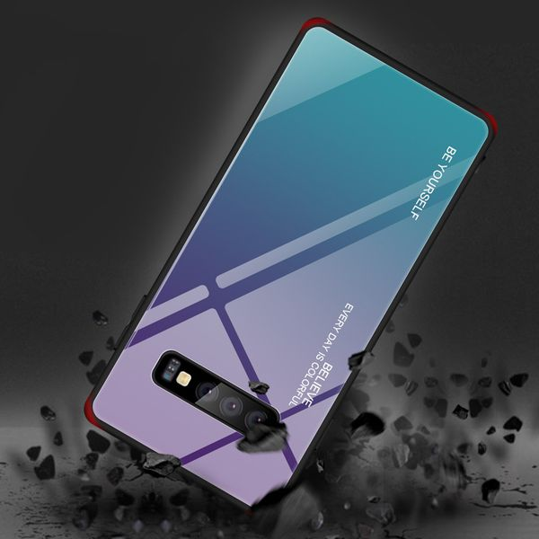 Gradient Phone Case with Tempered Glass Back for Samsung S10 - Paw Prints & Curly Tails