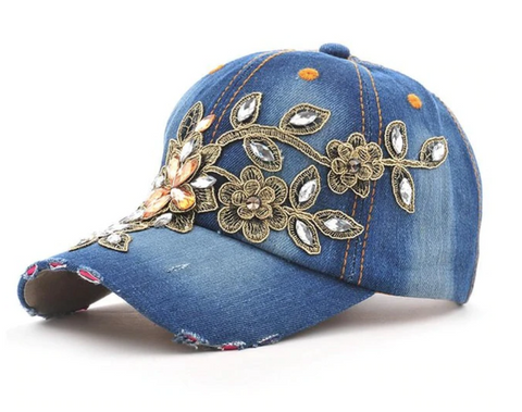 Embellished Denim Peak Cap - Paw Prints & Curly Tails