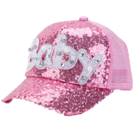 "Girls Sequin Pink ""Baby"" Cap (Age: 2-8) - Paw Prints & Curly Tails"