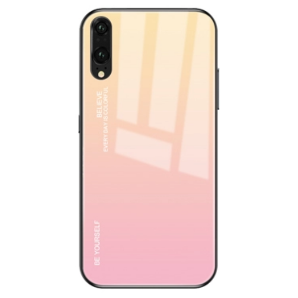 Gradient Phone Case with Tempered Glass Back for Huawei P20 Lite - Paw Prints & Curly Tails