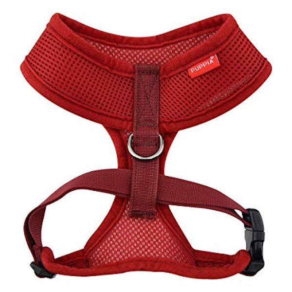 Puppia Soft Mesh Dog Harness - Wine Red - Paw Prints & Curly Tails