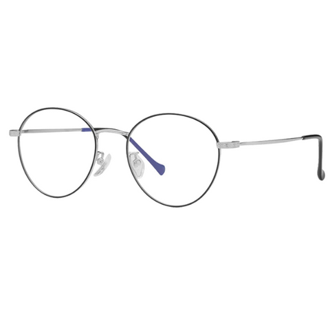 Round Metal Frame Anti-Blue Light Glasses - Paw Prints & Curly Tails