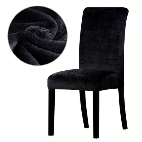 Velvet Elasticated Dining Room Chair Cover (Set of 2) - Various Colours - Paw Prints & Curly Tails