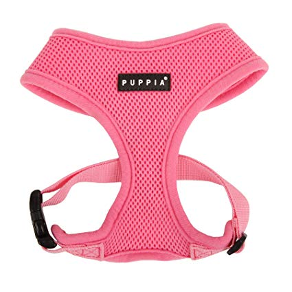 Puppia Soft Mesh Dog Harness - Pink - Paw Prints & Curly Tails