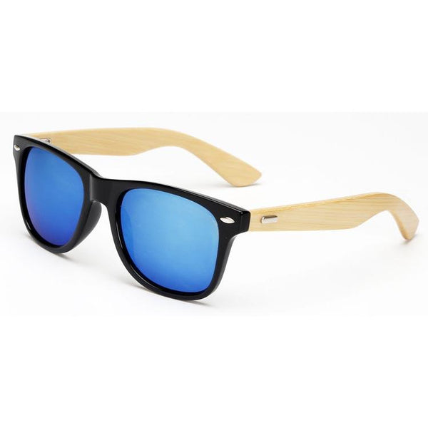 Blue Mirror Lense Bamboo Wood Sunglasses - Paw Prints & Curly Tails