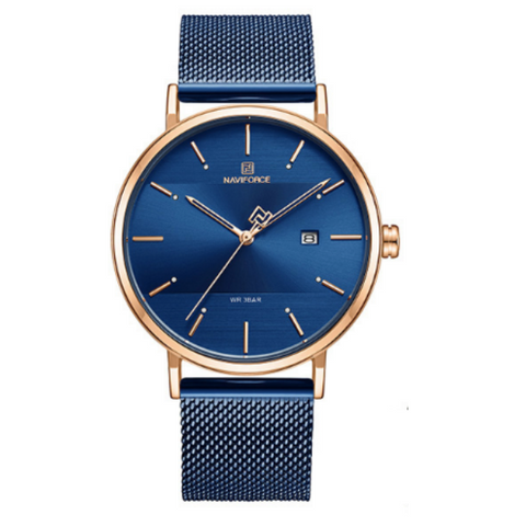 NAVIFORCE Men's Navy Blue Watch with Gold Trim