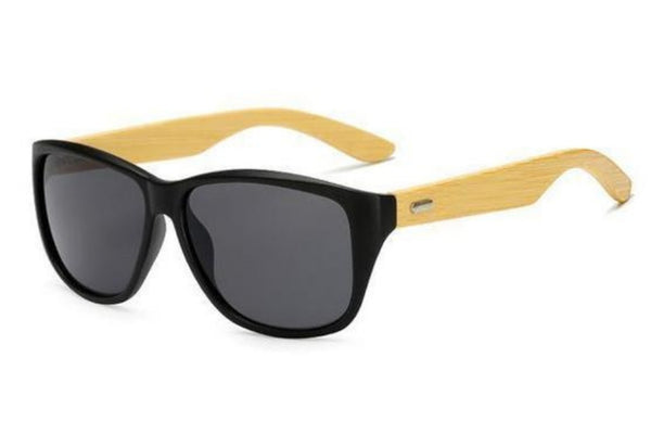 Matte Black Bamboo Wood Sunglasses - Paw Prints & Curly Tails