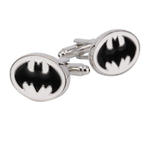 Black & White Batman Superhero Cufflinks - Paw Prints & Curly Tails