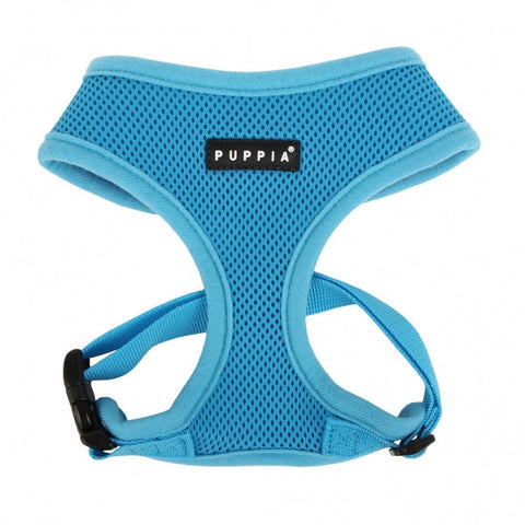 Sky Blue Puppia Soft Mesh Dog Harness - Paw Prints & Curly Tails