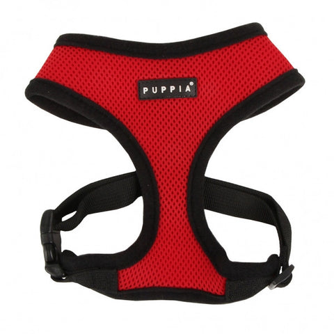Red Puppia Dog Harness - Paw Prints & Curly Tails