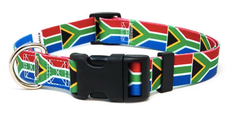 South African Flag Dog Collar - Paw Prints & Curly Tails