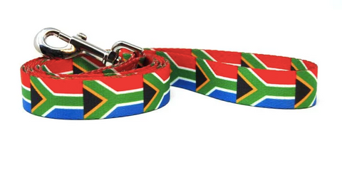 South African Flag Dog Lead - Paw Prints & Curly Tails