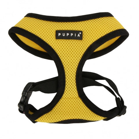 Yellow Puppia Dog Harness - Paw Prints & Curly Tails