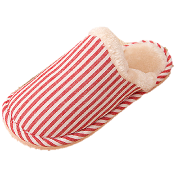 Striped Backless Slippers - Various Colours - Paw Prints & Curly Tails