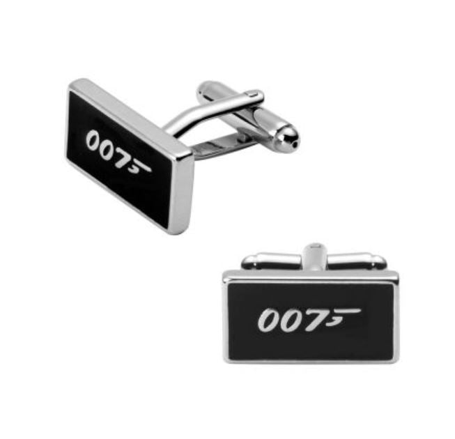 """James Bond 007"" Silver & Black Cufflinks - Paw Prints & Curly Tails"
