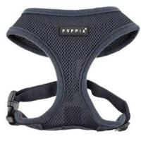 Puppia Soft Mesh Dog Harness - Grey - Paw Prints & Curly Tails