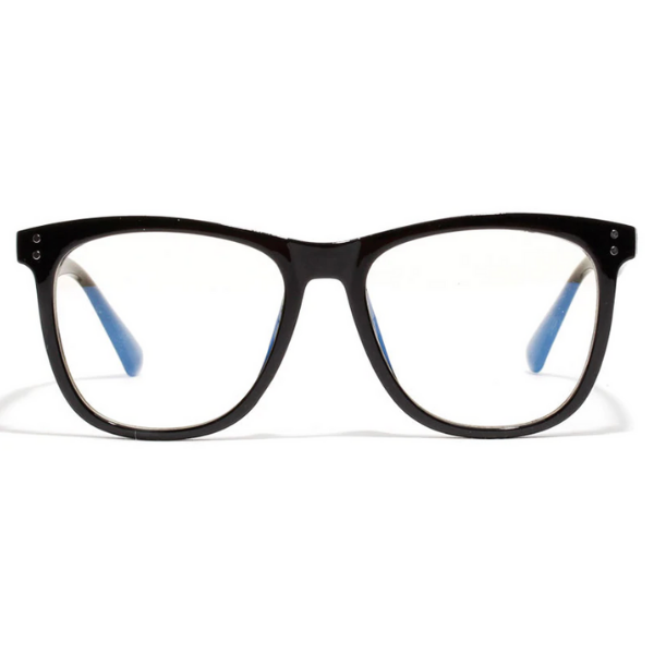 Black Square Frame Anti-Blue Light Glasses - Paw Prints & Curly Tails